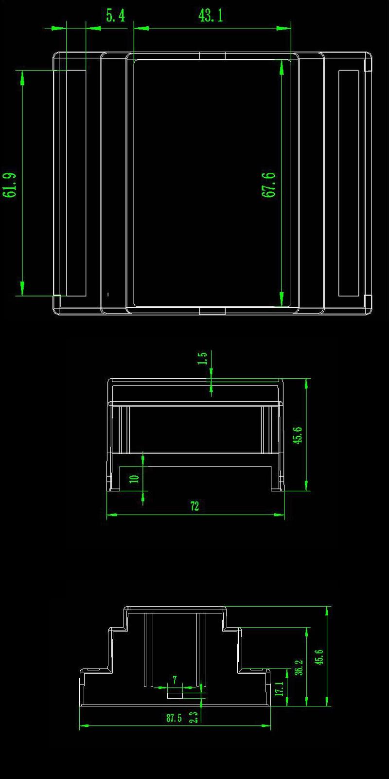 1 шт./лот модуль преобразователя проект коробка 88*72*59 мм ABS пластиковый корпус коробка diy для din-рейку оборудования распределительная коробка