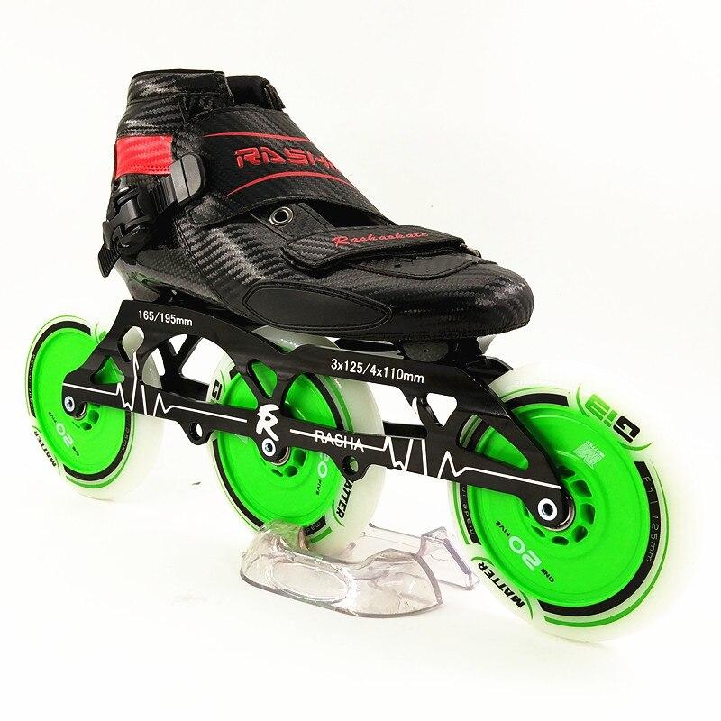 RASHA skate patins à roulettes de vitesse en ligne nouvelles bottes en carbone 3 roues 125mm patins patins