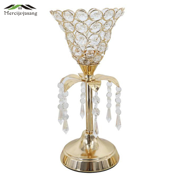 2Pcs/Lot Table Candle Holder Plating Crystal Candlestick Geometric Romantic Candle Holders for Wedding/Dinner Decoration GZT123