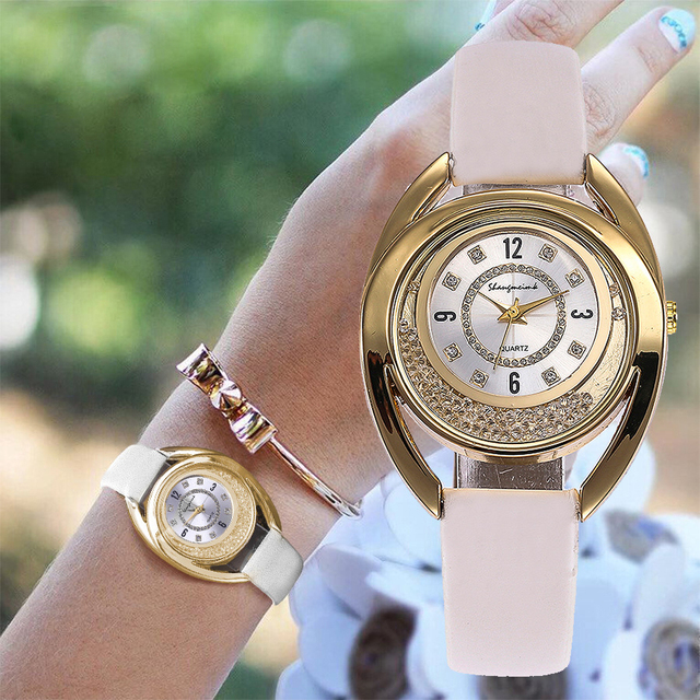 Fashion Flower Dial Leather Strap Rose Gold Women Watch Casual Quartz Wrist Watc