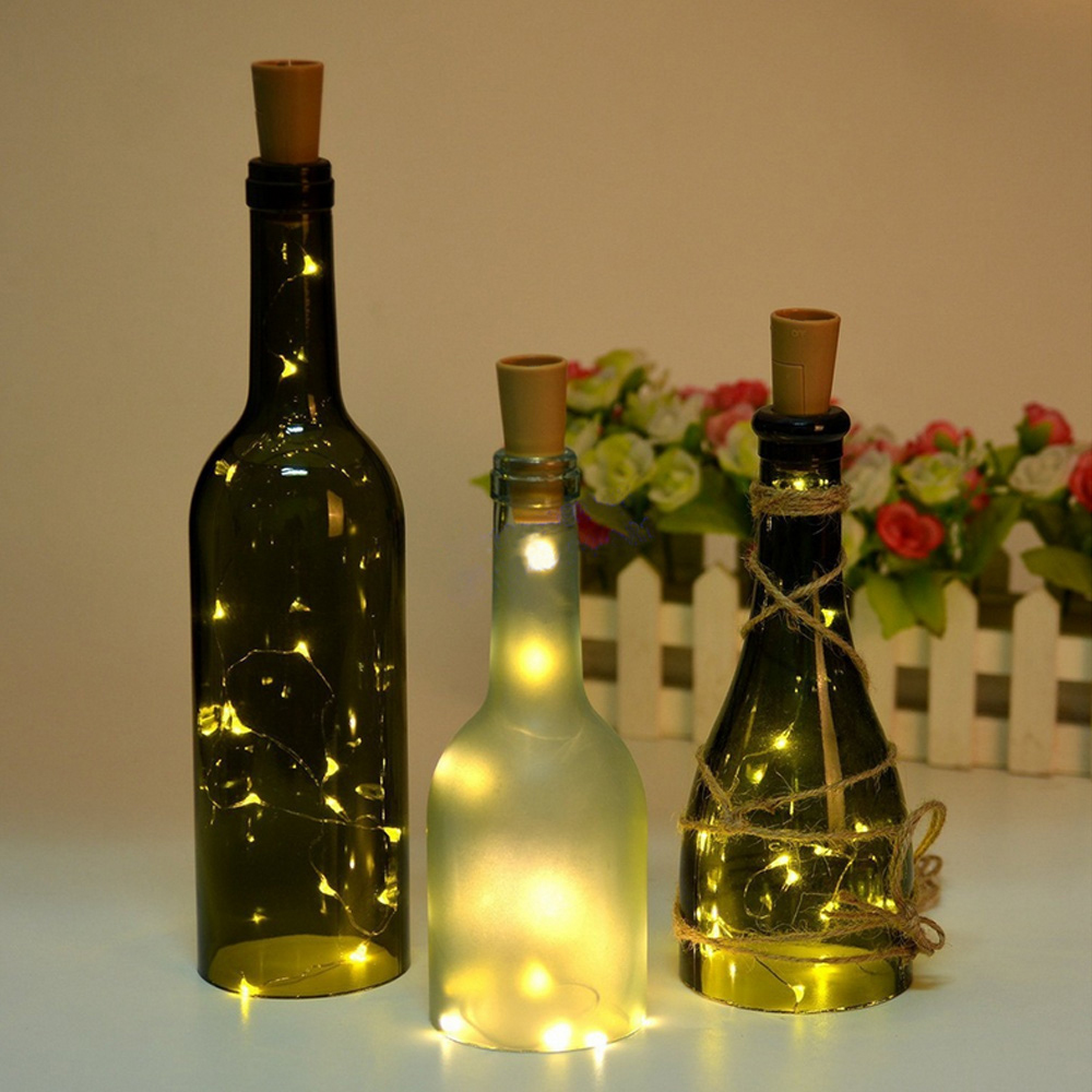 1m 10-LED/2m 20-LED Battery Powered Wine Bottle Lights Cork Shaped String Lights Fairy Lights for DIY Wedding Party Dancing