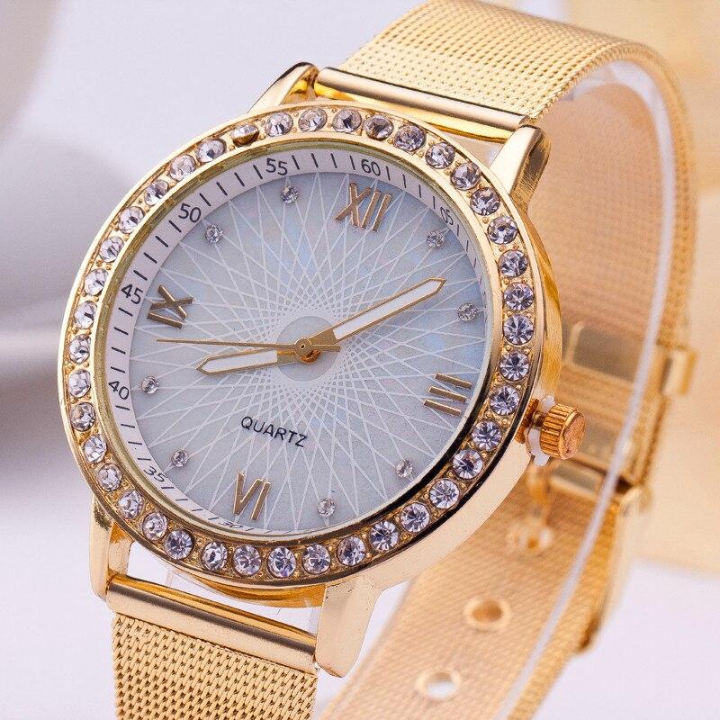 2019 New Rhinestone Rose Gold Women Watch Stainless Steel Analog Quartz Wristwatch Simple Lady Business Luxury Silver Watches