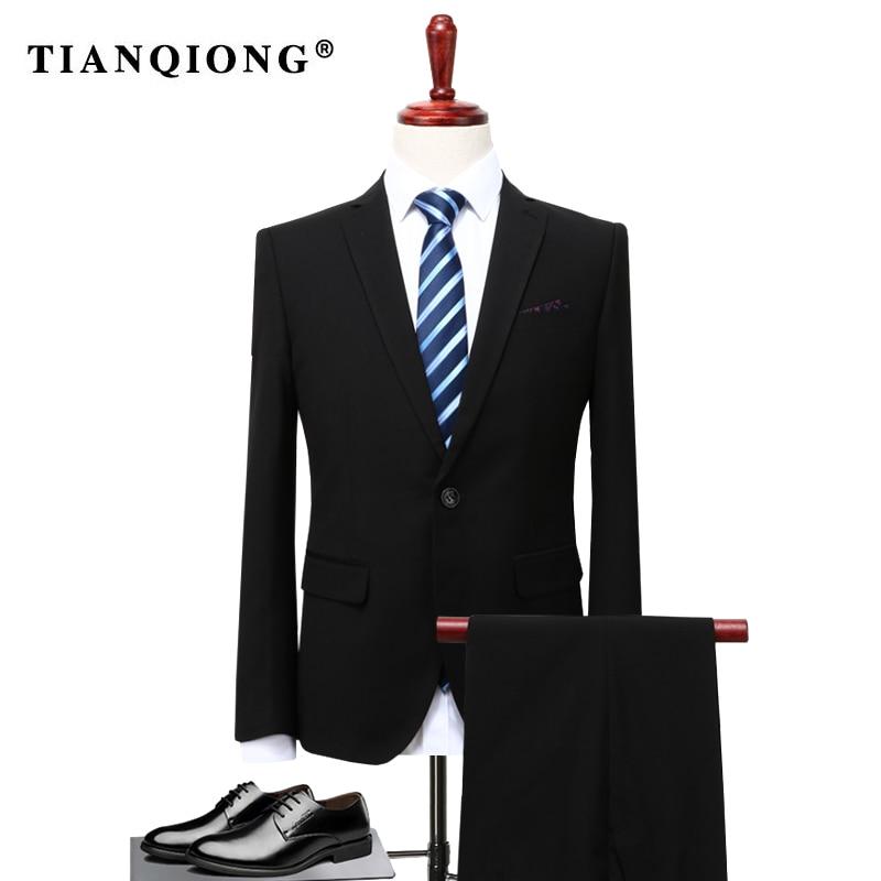 TIAN QIONG 2 stück Anzüge Männer Koreanische Neuesten Mantel-Hose Designs Grau Herren Anzug Herbst Winter Dicken Slim Fit Hochzeit kleid Smoking