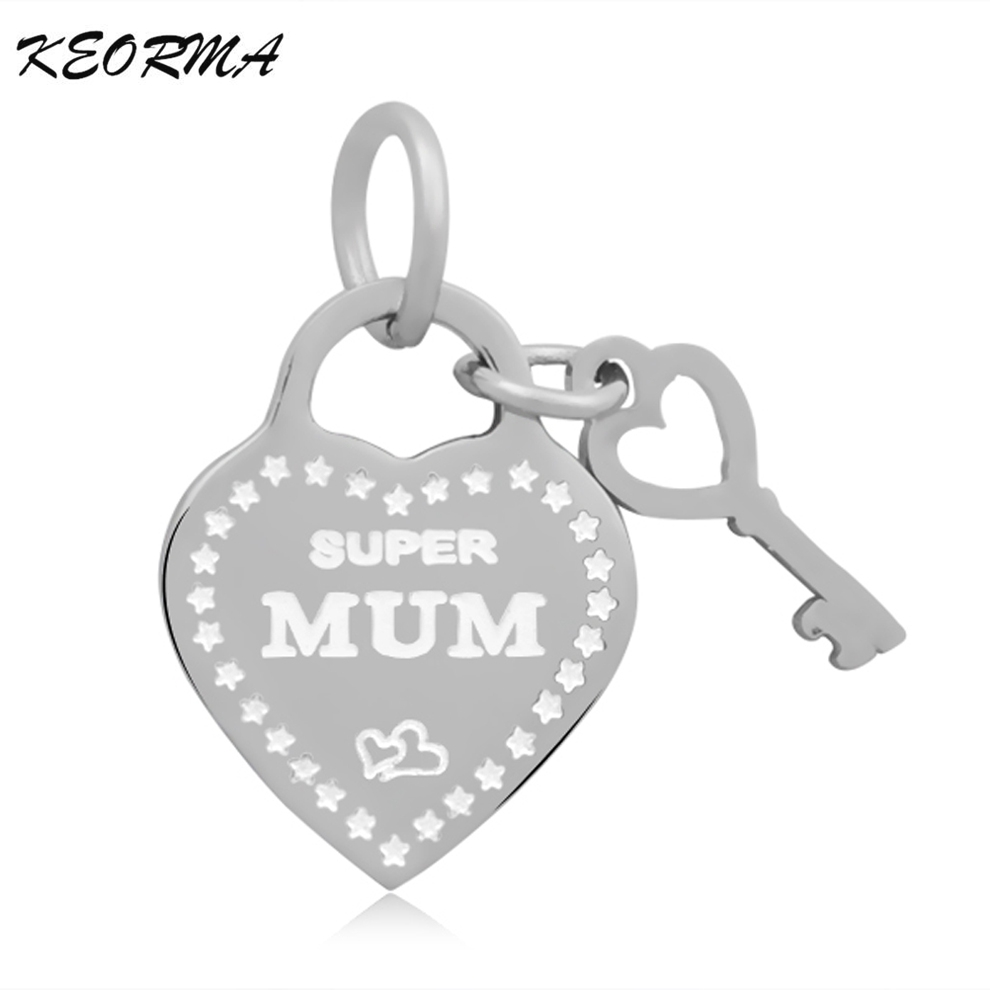Love Heart With Key Charms For Jewelry Making Stainless Steel Material Charms Fit DIY font b