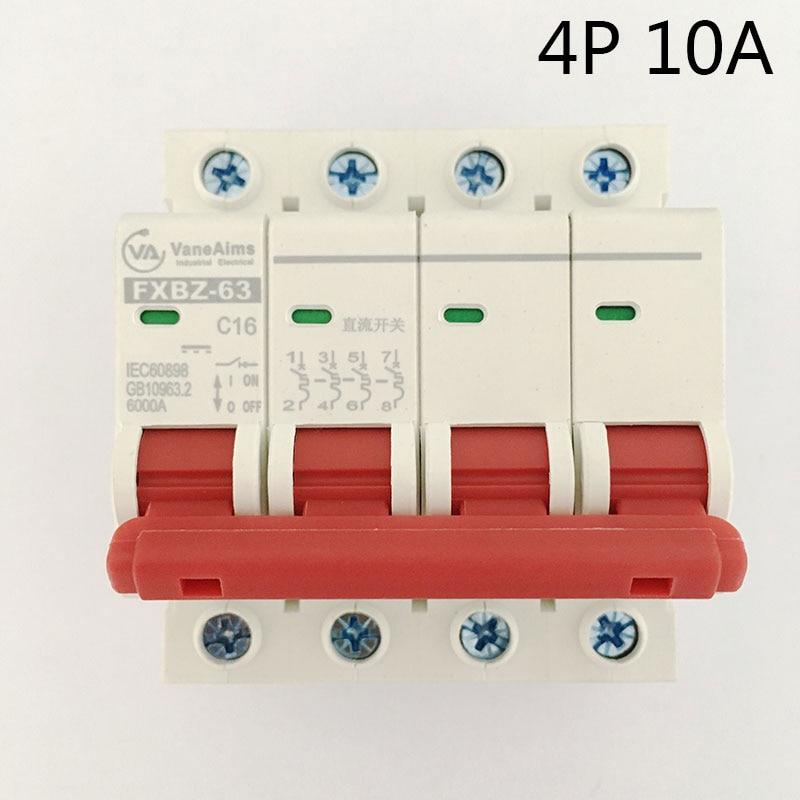 4P 10A DC 500V Solor Circuit breaker MCB 4 Poles C63 FXBZ-63 fxbz 63 3p 50a dc 1000v circuit breaker mcb 1 poles c63