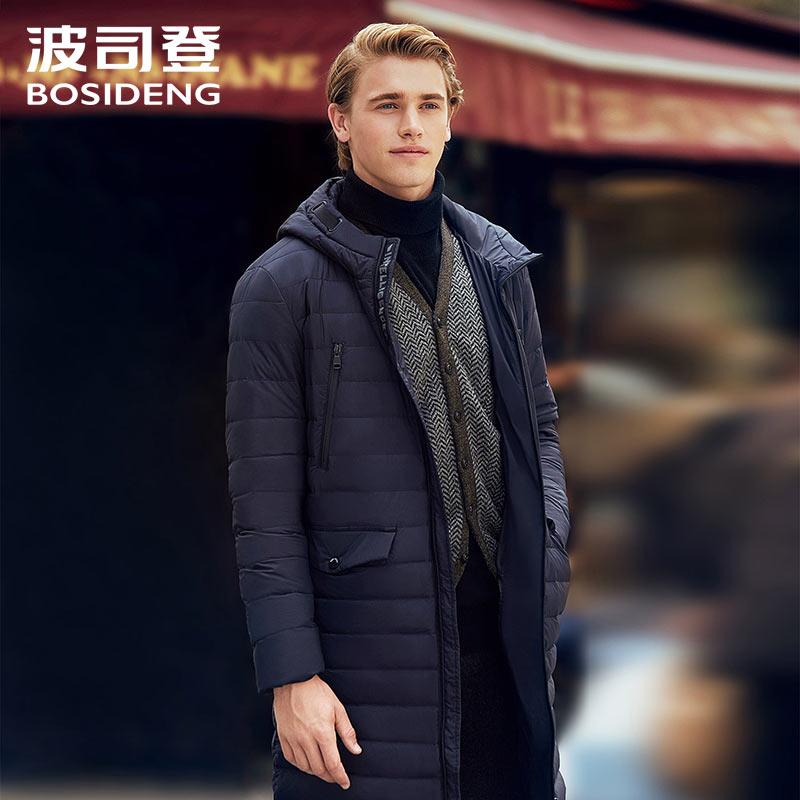 BOSIDENG 90% duck   down   jacket long   down     coat   for men winter casual outwear light parka high quality B70131113