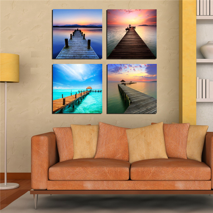 Aliexpress.com : Buy Modern WALL Art Decor Multi Panel Canvas Painting  Seascape Wooden Bridge Pictures For Living Room Study Room Office Unframed  From ... Part 98