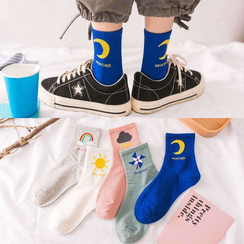 New Kawaii Fashion Korean Women Style Long Socks Meia Fun Sun Moon Windmill Rainbow Pattern Cotton Socks Cartoon Weather Sox