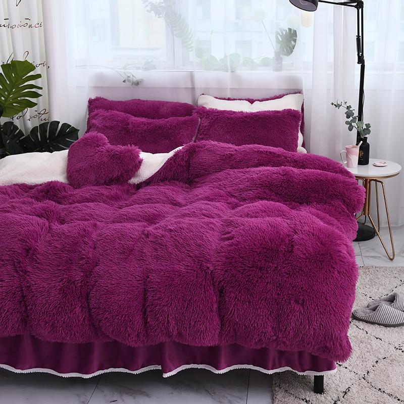 4 pcs Épaissie double face pile up de luxe ensembles de literie reine roi taille housse de couette lit jupe ensemble taie d'oreiller literie