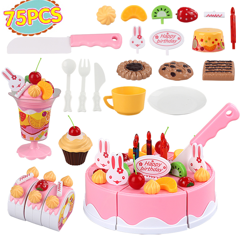 75pcs/set DIY Fruit Cake toys for Children play house kitchen toys giftbox package birthday gift plastic food brinquedos