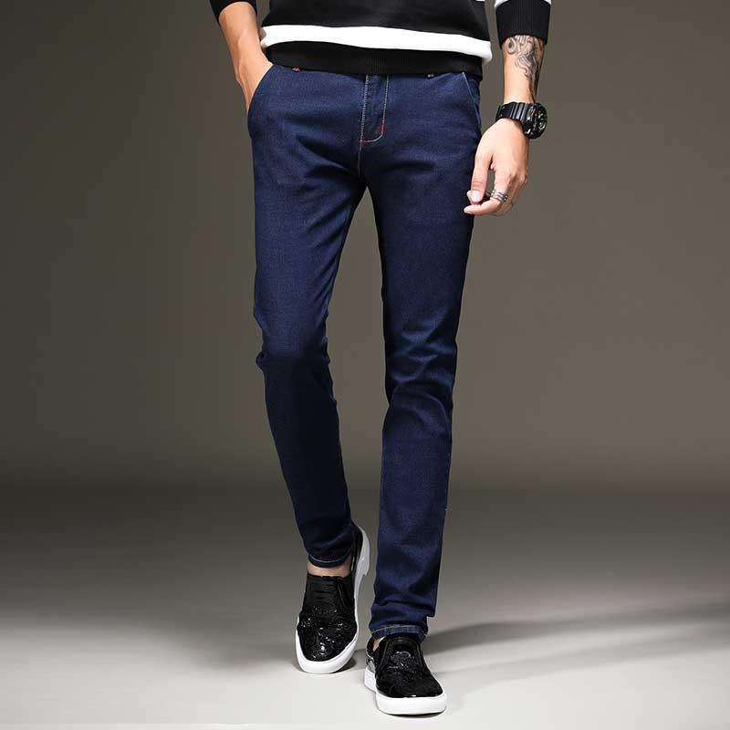 High Quality Men's Skinny Stretch Jeans Slim Male Cowboy Denim Pants Fashion Trousers Solid Blue Black men slim jeans high quality brand straight denim overalls male trousers fashion classic 6xl boyfriend casual cowboy pants 2017