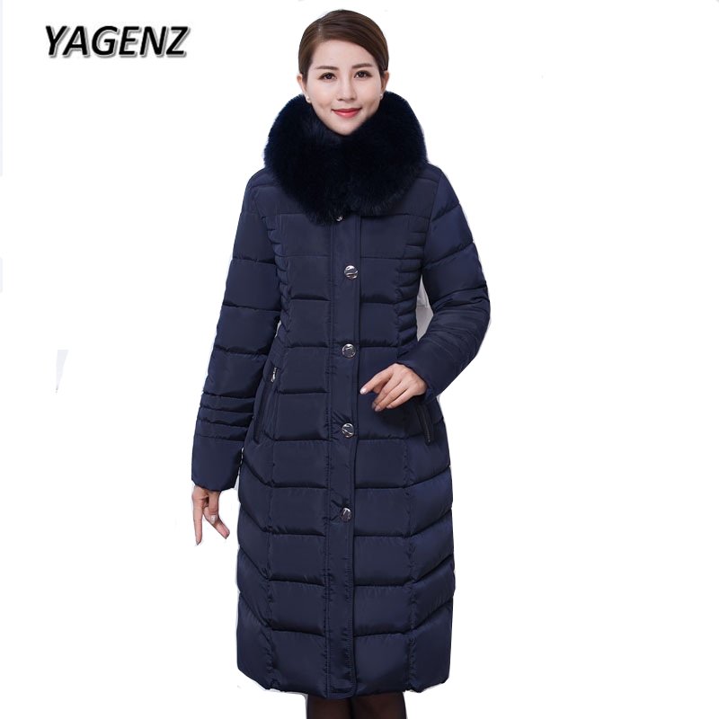 Large size Down cotton Women Hooded Jacket Coats 2018 Winter Slim Thick Warm Parkas Lady Long Overcoat Big Fur collar Coats 6XL winter jacket women 2017 big fur collar hooded cotton coats long thick parkas womens winter warm jackets plus size coats qh0578