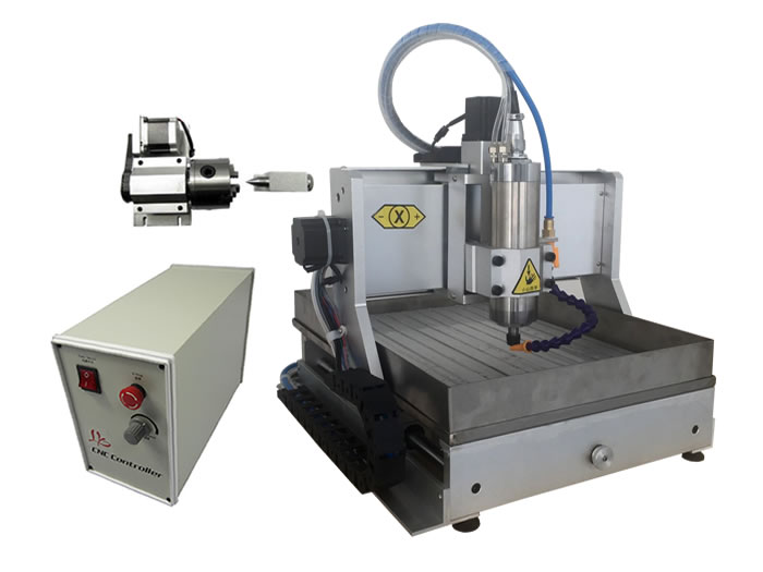 4axis mini cnc milling machine 3020 VFD800W USB wood router with water tank