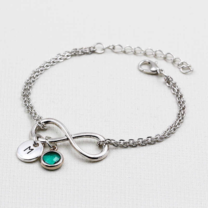Us 1 39 30 Off Round English Letters A Z Charms Bracelets Birthstone Pendant Personalized Bracelet Diy Handmade Infinity For Women In