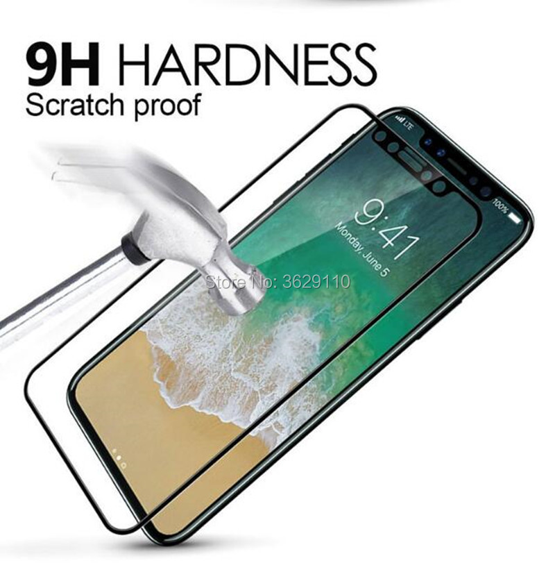 100pcs 3D 9H Tempered Glass Screen Protector Soft Edge Carbon Fiber Full Coverage LCD Safe Guard Film for iPhone X 8 6 6S 7 Plus