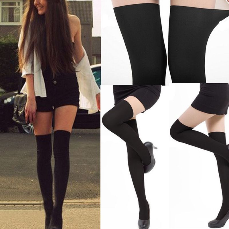 KLV Sexy Womens Black Long Stocking Tinted Sheer False High Pantyhose Cool Girl Black Complexion Patchwork Pantyhose