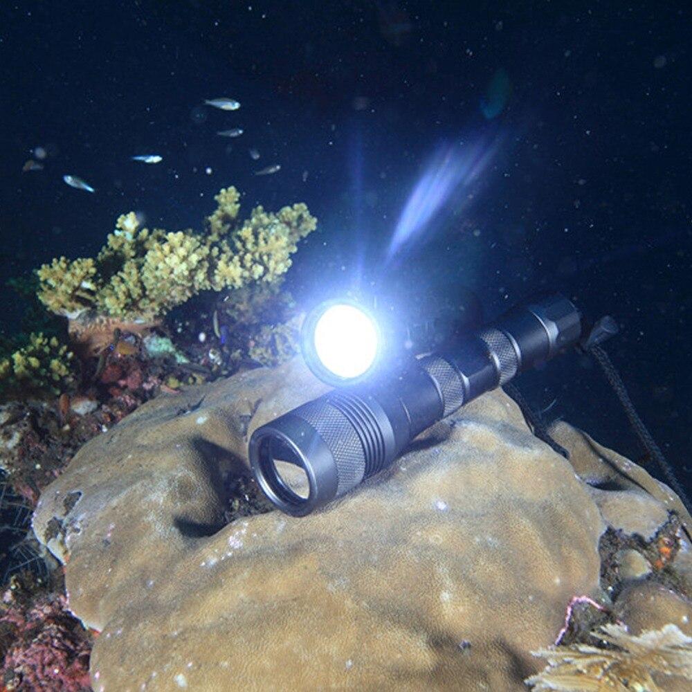 Asafee DIV01 Cree L2 puissant rechargeable LED lampe de poche de plongée 18650 torche sous marine 150 M XM L2 chasse sous marine LED lampe de plongée - 6