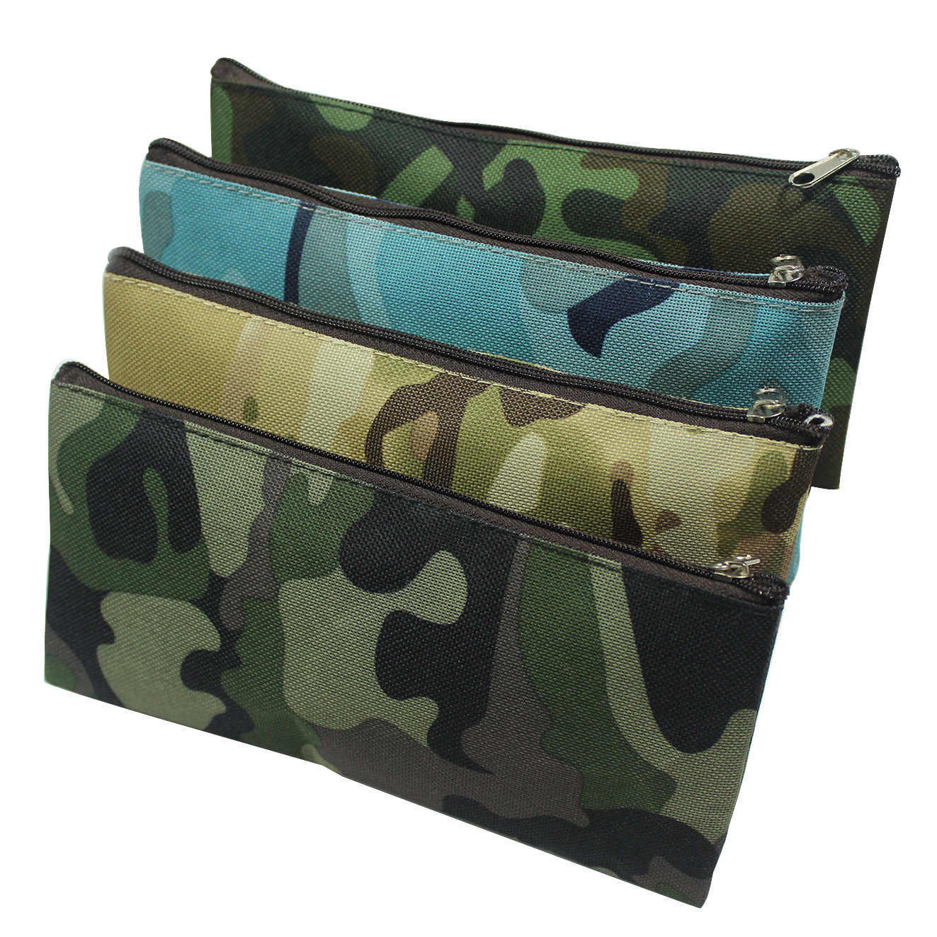 Camuflagem Caixa de Lápis Saco do Lápis Para Meninos e Meninas Material Escolar Sacos de Maquiagem Cosméticos Zipper Pouch Bolsa 4 Cores