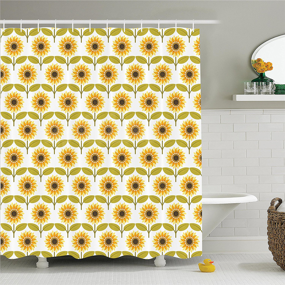 Sunflower Decor Shower Curtain Set Sunflowers Pattern Autumn Country Style Decorating Retro Illustration Print Bathroom Accessor