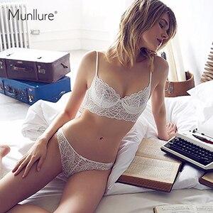 Image 2 - Munllure głębokie V przezroczysta bielizna urok koronki winorośli dekoracyjny wzór seksowny uroczy ultra cienki biustonosz zestaw