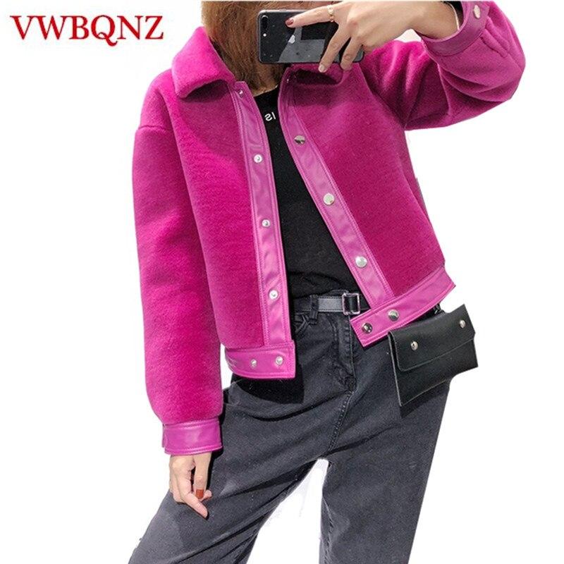 Мода 2018 осень зима Новый Для женщин Меховая куртка пальто теплые свободные тонкий зима короткая верхняя одежда повседневная женская обувь