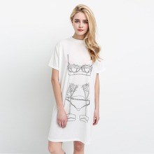 Women European Style Fashion Personality Patterns Printed T shirt O Neck Short Sleeved Loose Casual Long T-shirt Tops Tees