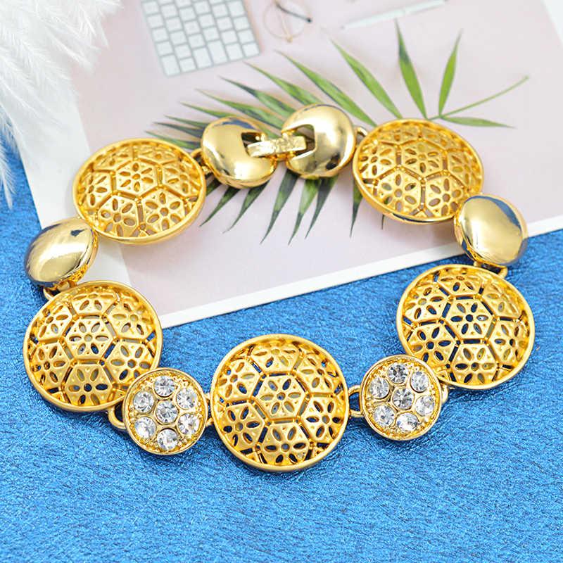 Bijoux ensoleillés bijoux de mariage classiques femmes ensemble de bijoux de mariée collier boucles d'oreilles anneau Bracelet pour la fête ronde résultats de bijoux