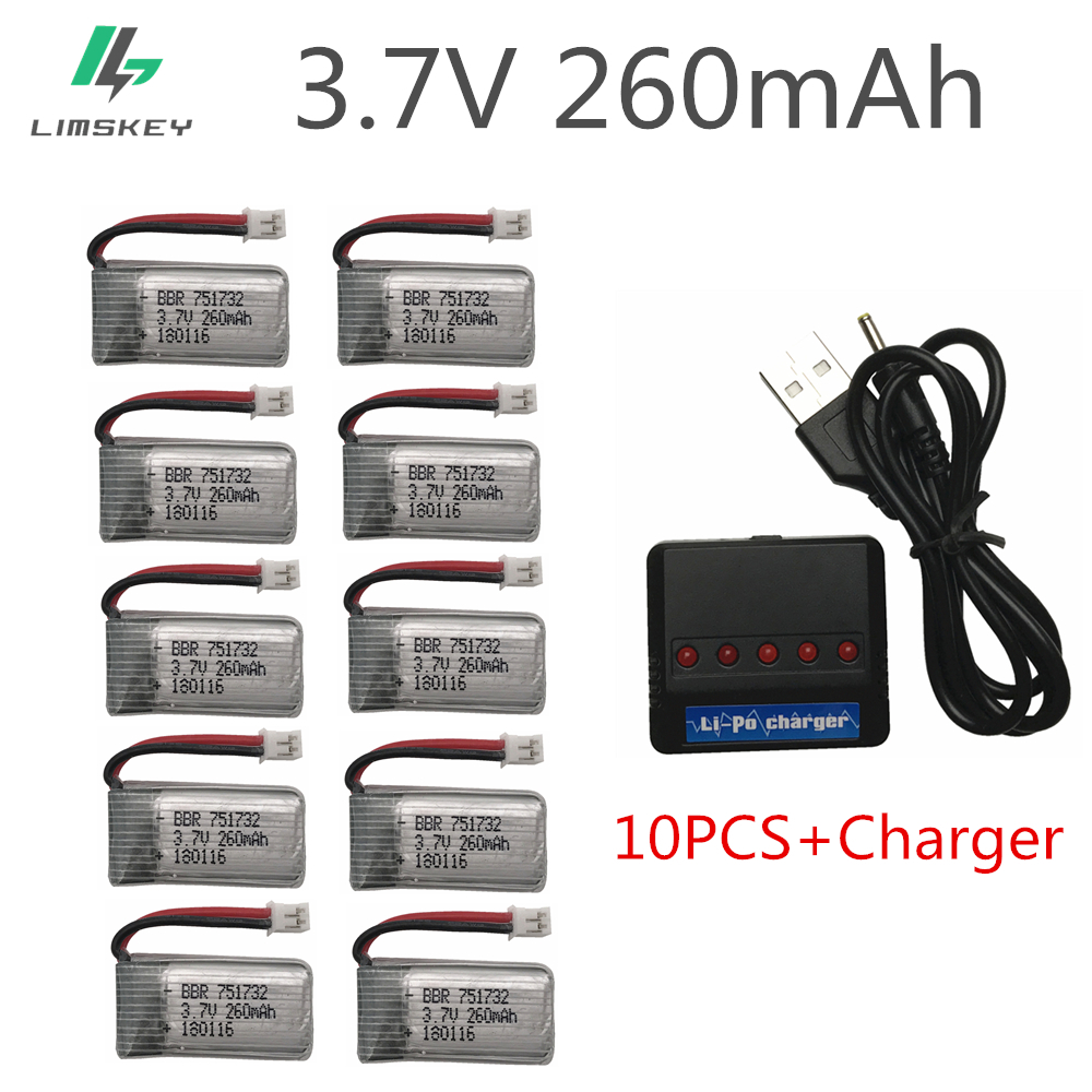 10pcs 3.7V 260MAH Upgrade For Eachine E010 E010C E011 E013 H36 Mini RC Quadcopter 3.7V 260MAH 30C Libo Battery With Charger Set
