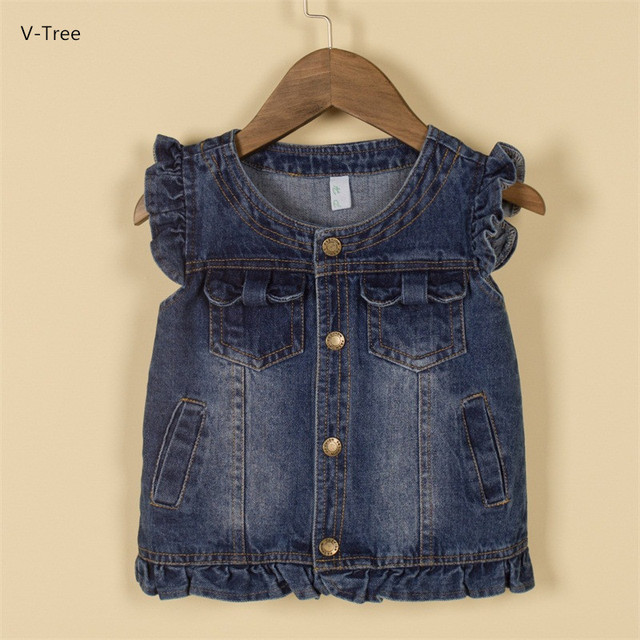 Girls Jeans Vests For Autumn Spring New Fashion Children Cotton Lace Waistcoats Baby Kids Simple Denim Vests Coats