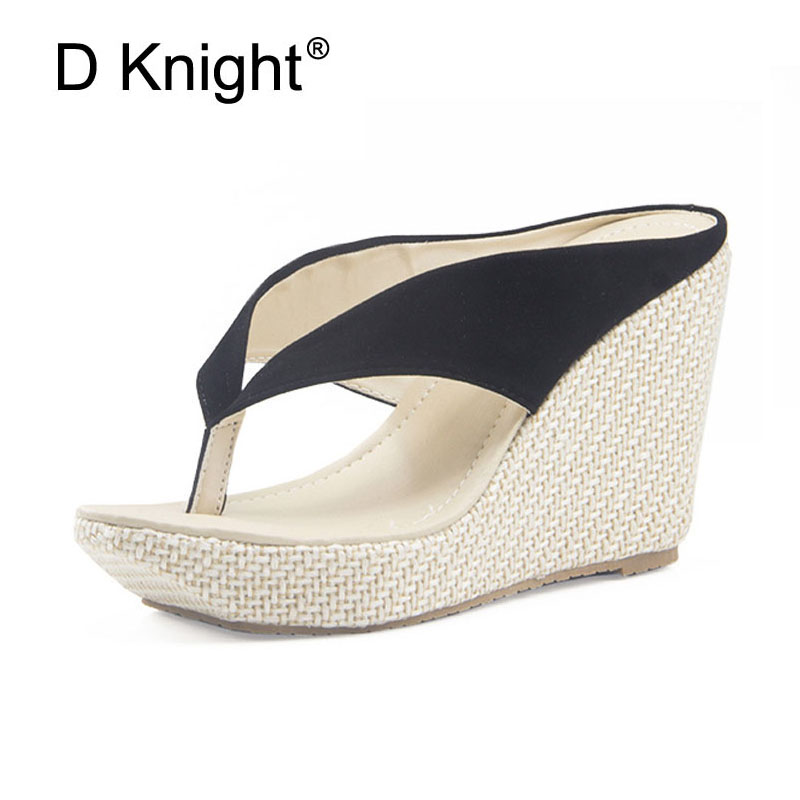 8ac9dda74 2019 New Women Sandals Slippers Flip Flops Fashion Platform Sandals Wedeges Slippers  High Heels Beach Slippers Plus Size 33-41