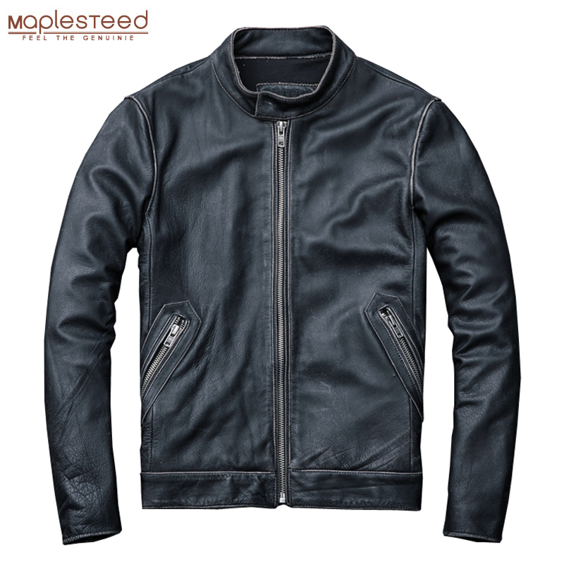 MAPLESTEED Destressed Leather Jacket Natural Calfskin Leather Jacket Men Leather Coat Male Jacket Cowhide Plus Size 5XL 6XL M140