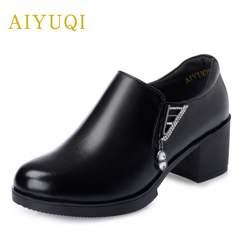 AIYUQI 2018 new spring women genuine leather shoes deep mouth thick with rounded head plus size 41#42#43# fashion shoes female aiyuqi big size 41 42 43 women s comfortable shoes 2018 new spring leather shoes dress professional work mother shoes women page 4