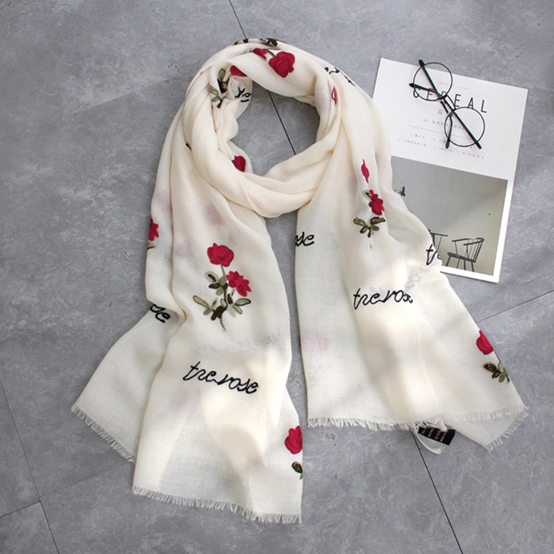 2017 embroidery women scarf vintage summer pashmina cotton shawls and wraps lady floral bandana female hijab Cotton scarves New