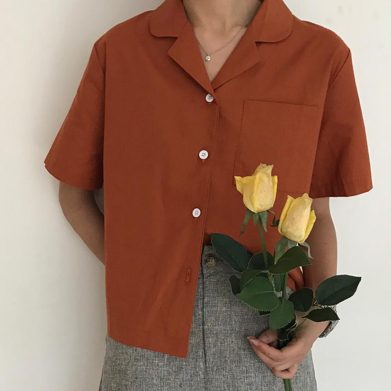 Fashion Women Solid Loose Short Sleeve Casual   Blouse   women's   shirt   blusas harajuku womens tops and   blouses   Female clothes