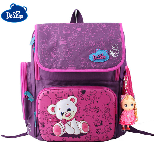 2017 New Delune Authentic School Bag Backpacks Bear Printing ...