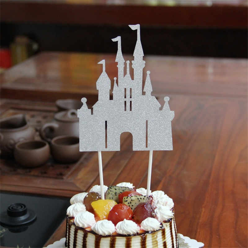 1Pc Glitter Castle Cupcake Cake Topper Cake Flags Happy Birthday Decoration Christmas Home Dinner Baking Event Pary Supplies