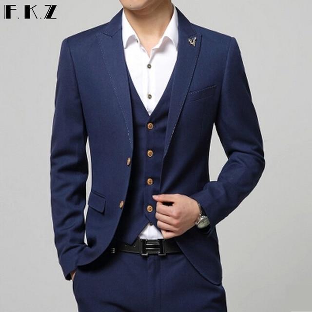 2d8af43003 US $284.19 |(Jacket+Pant+Vest) 2015 New Fashion Men Suit Business Formal  Dress Suit For Men Pure Color Cotton Slim Fit Wedding Suit 3 Piece-in Suits  ...