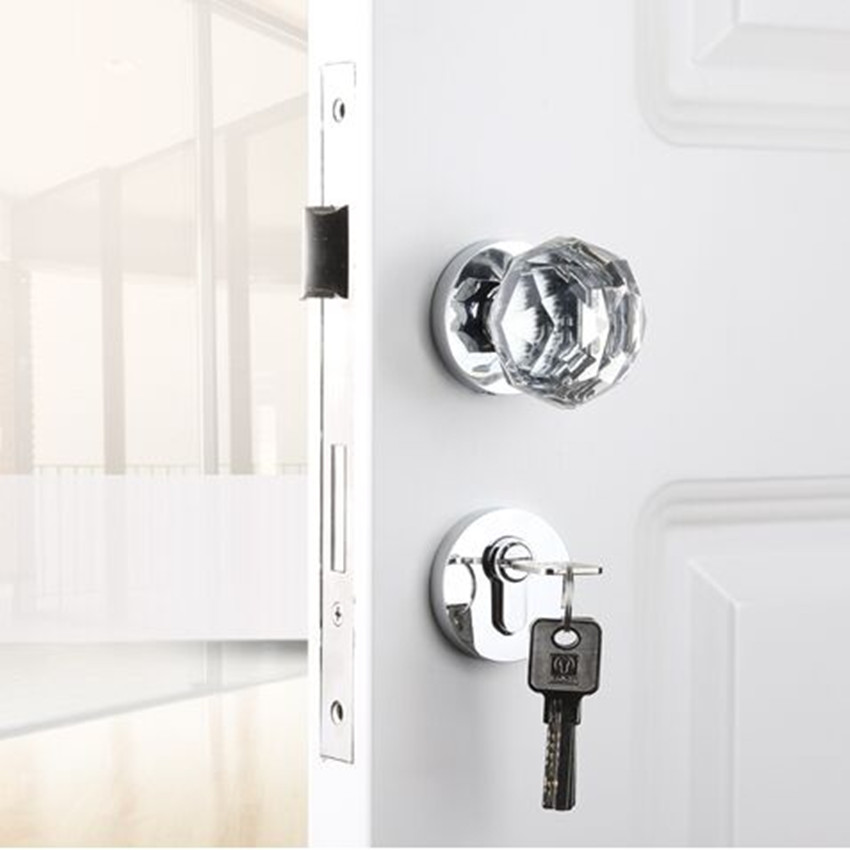 modern Fashion crystal mechanical mute split lock  gold silver bedroom kitchen bookroom solid wooden ball locks Top quality цена