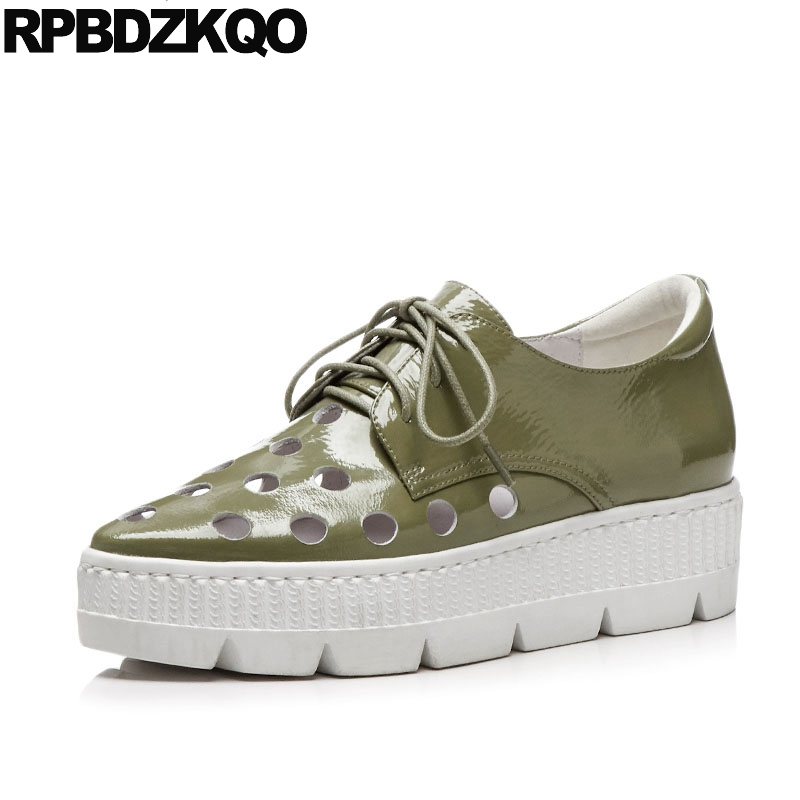 Gray Genuine Leather Leisure Green Hollow Out Lace Up Flats Creepers Platform Shoes Breathable Elevator Patent Women Pointed Toe