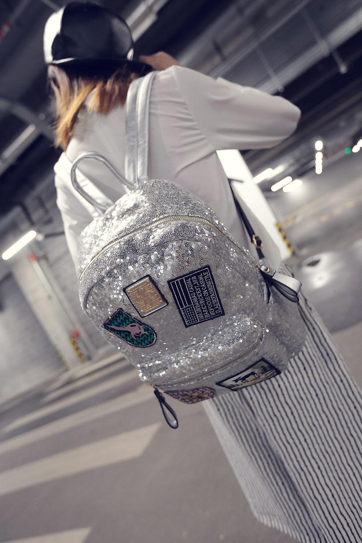 Female star with a backpack bags 2019 spring backpack bag bag Korean tide Sequin sequins 6