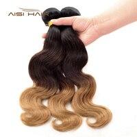 AISI HAIR Peruvian Ombre Body Wave Human Hair Bundles 100% Human Hair Weave 1 PCS T1B/4/27 3 Tone Ombre Non Remy Hair Extension