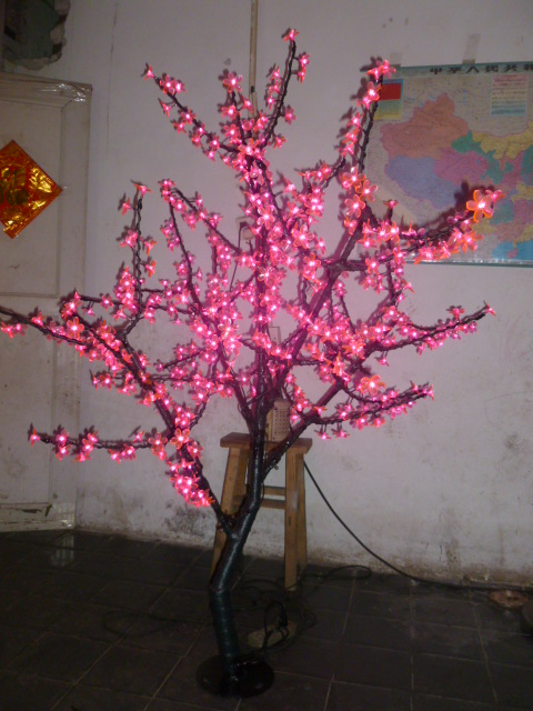 Free ship Christmas New year decor red Cherry Blossom Tree Light 480pcs LED Bulbs 1.5m Height 110/220VAC Rainproof Outdoor