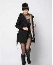 Зима пальто хлопок длинная капюшон, корейский женщины плюш интерьер загущающие супер тёплый средний пальто женщины G1769