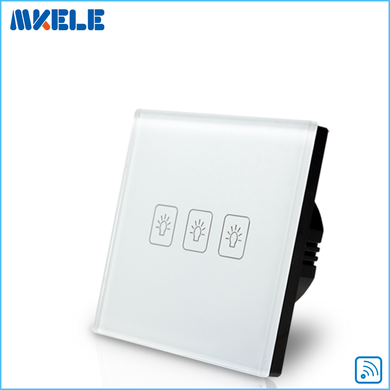3 Gang1 way Remote Touch Switch EU Standard RF Remote Control Light Switch White Crystal Glass Panel remote touch wall switch eu standard 1 gang 1way rf control light white crystal glass panel china