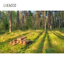 Laeacco Forest Trees Green Grass Wood Scenic Photography Backgrounds Customized Photographic Backdrops For Photo Studio photography backdrops white clouds green grass backdrops newborn purple flower trees sunshine digital studio background