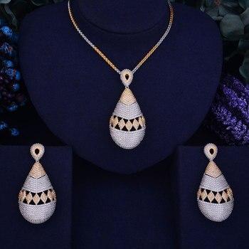 GODKI Exclusive New Luxury Women Nigerian Wedding Naija Bride Cubic Zirconia Necklace Dubai 2PCS Wedding Jewelry Set