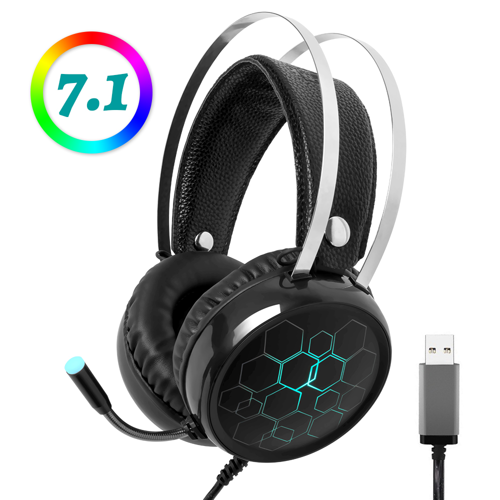 7.1 Gaming Headset with Microphone Headphones Surround Sound USB Wired Gamer Earphone for PC Computer Xbox One PS4 RGB Light