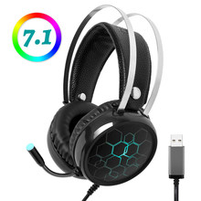 Profesional 7.1 Gaming Headset Headphone dengan Mikrofon Gamer Suara Surround USB Kabel untuk Komputer PC XBOX ONE PS4 Lampu RGB(China)