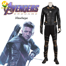 Avengers Endgame Clinton Barton Hawkeye Cosplay Costume Hawkeye PU Leather Costume Halloween Party  For Men Free Shipping