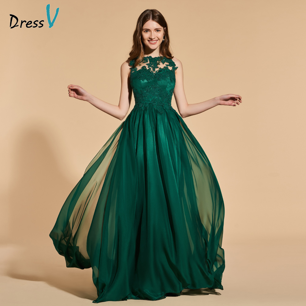 Dressv Green Long Prom Dress Sleeveless Simple A-line Button Neck Evening Party Gown Lace Spring Prom Dresses Customize